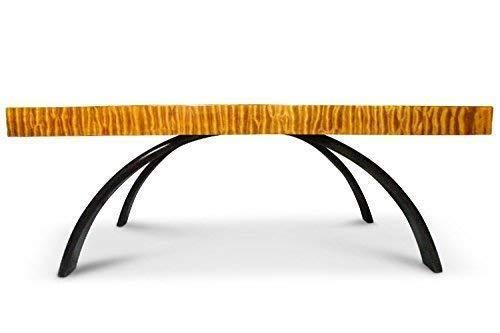 KAHL WOOD DECOR Quilted Maple Coffee Table – Ultra High Gloss – Handmade Bent Wood Legs – Studio Art Furniture