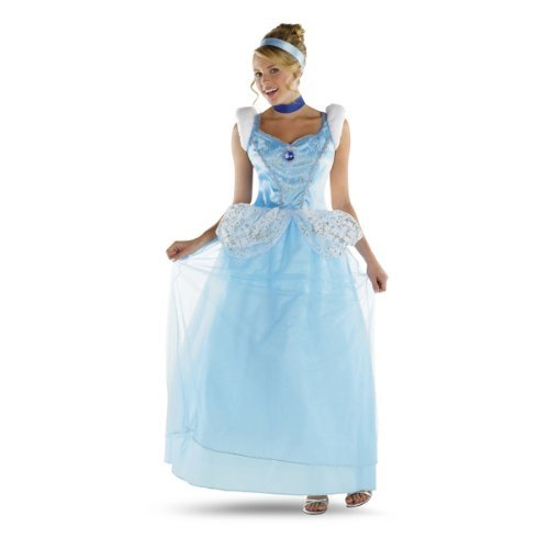 Disguise Disney Cinderella Adult Deluxe Costume, Light Blue/White, Large/12-14 (Princess Disney Costumes Adults)