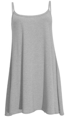 New Womens Plus Size Cami Strappy Sleevless Long Swing Top Mini Dress 8-22 ( Grey , UK 12-14 / EU 40-42 )