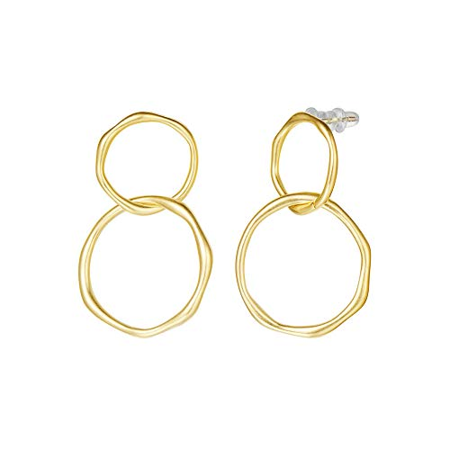 Fancime 14K Yellow/White Gold Plated Statement Chain Link Double Loop Hoop Drop Dangle Earrings, Hypoallergenic Fashion Jewelry Gift for Women Girls Teens