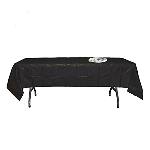 Black Disposable Plastic Tablecloth 54''x108'' Rectangle Table Covers for Parties (5 Pack) by Salsell