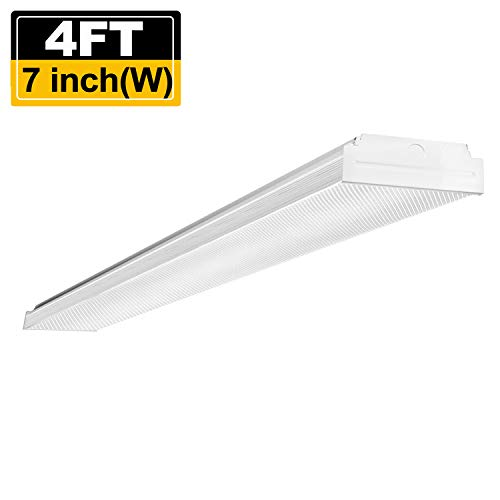 Around Fluorescent Light Wrap (AntLux 4ft LED Garage Shop Lights, LED Wraparound Light Fixture 40W, 4800 Lumens, 4000K Neutral White, 4 Foot Integrated Low Profile Linear Flushmount Ceiling Lighting, 120W Fluorescent Replacement)