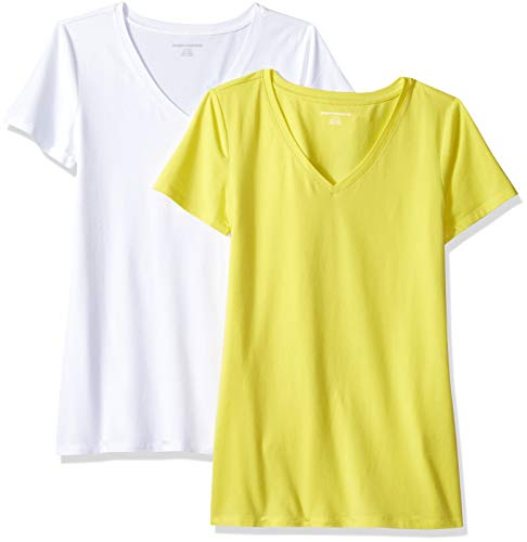 Amazon Essentials Women's 2-Pack Short-Sleeve V-Neck Solid T