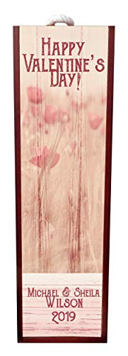 Happy Valentine's Day! - Floral Wood Impression Romantic Wine Box Personalized - Wine Box Rosewood with Slide Top - Wine Box Holder - Wine Case Decoration - Wine Case Wood - Wine Box Carrier
