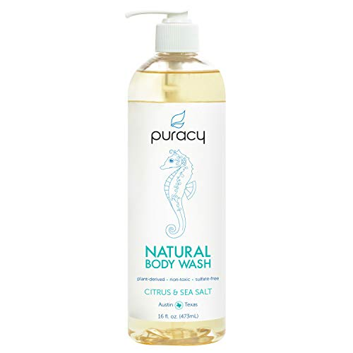 (Puracy Natural Body Wash, Sensitive Skin Bath & Shower Gel, Citrus & Sea Salt, 16 Fl. Oz (Pack of 1))