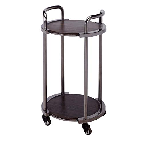min MinMin Double Wine Cart Tea Water Cart Snack Car Cake Car Hotel Restaurant Delivery Car Mobile Cart Tool Cart Size 42x42x81cm Multi-Layer
