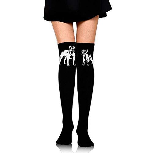 - Women's Knee High Sport Long Sock American Pit Bull Terrier French Bulldog for Jogging Sport Long Stockings