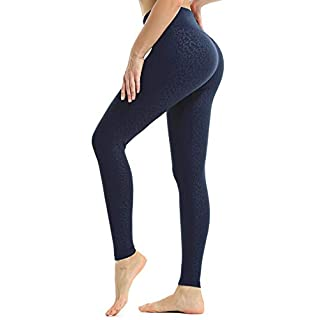 JOYSPELS Workout Leggings for Women Yoga Pants with Pockets High Waisted Spandex Exercise Running Athletic Leopard Leggings (True Navy, XL)