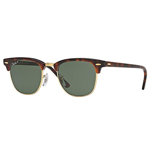 Ray-Ban RB3016 Clubmaster Square Sunglasses, Red Tortoise/Polarized Green, 49 ()