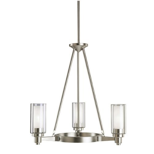 Kichler Lighting 2343NI Circolo 3-Light Chandelier, Brushed Nickel with Clear Glass Cylinders and Satin-Etched Inner Cylinders by Kichler - Circolo 3 Light