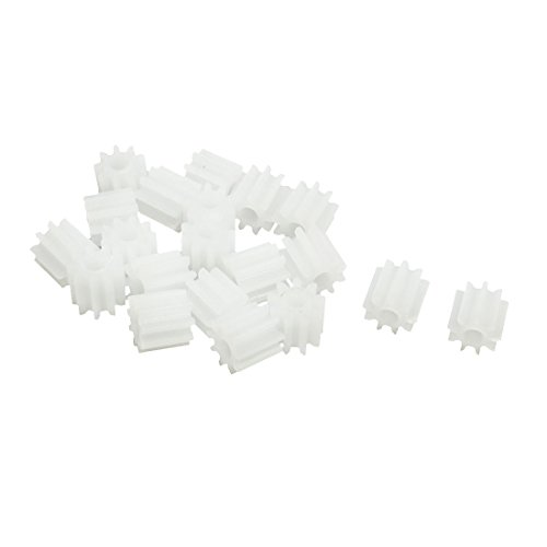 uxcell 20Pcs 5.5mmx2mm 9 Teeth Plastic Gear for Car Model Motor Gearbox ()