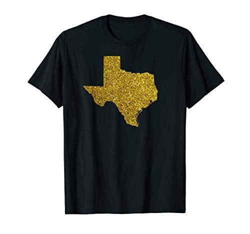 Texas map Gold Sparkle shiny bright Shirts  -