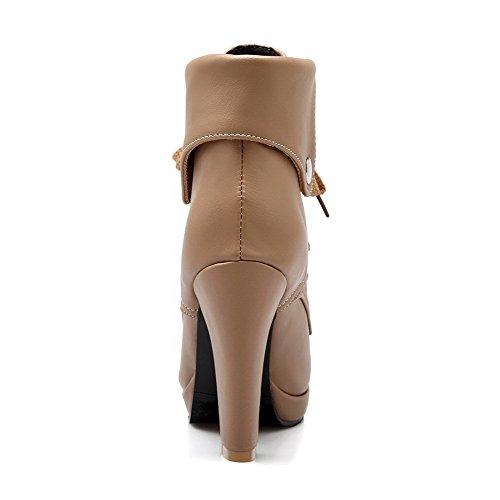 Allhqfashion Donna Allacciatura Tacchi Alti Solidi Tondi Stivali Chiusi Stivali Albicocca