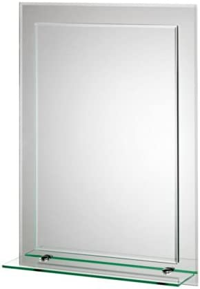 Croydex Devoke Double Layer Wall Mirror 28-Inch x 20-Inch with Shelf and Hang N Lock Fitting System