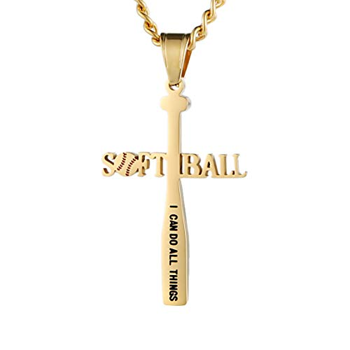 HZMAN Softball Bat Cross Pendant, I CAN DO All Things Strength Bible Verse Stainless Steel Necklace (Gold)