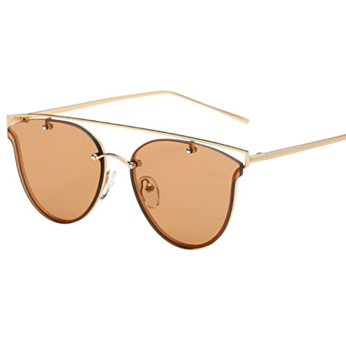 Vovotrade Women Fashion Cat Sunglasses Metal Frame Sunglasses Brand Classic Tone Mirror (Coffee, - Ban Clubmaster Beige Ray