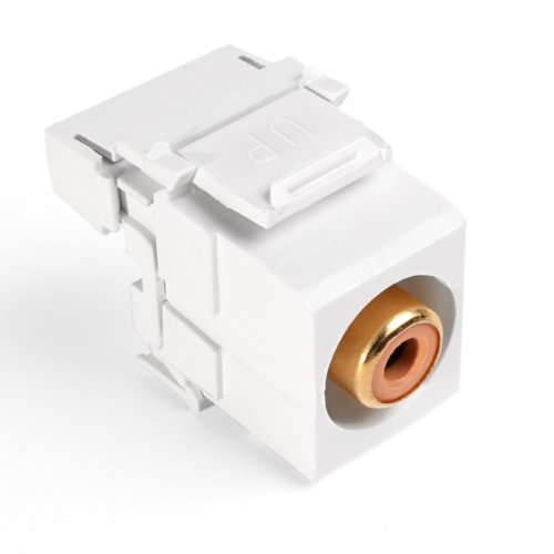 Leviton 40735-ROW QuickPort RCA 110-Type, Orange Barrel, White (Quickport 110 Rca Snap)