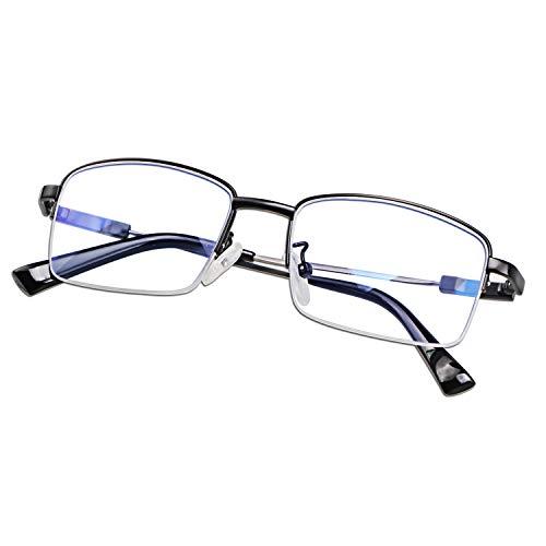 Computer Reading Glasses Blue Light Blocking Titanium Alloy Progressive Lenses Multifocal Spring Hinge Readers Eyeglasses Anti Glare Eye Strain Light Weight for Men Women (+1.0)