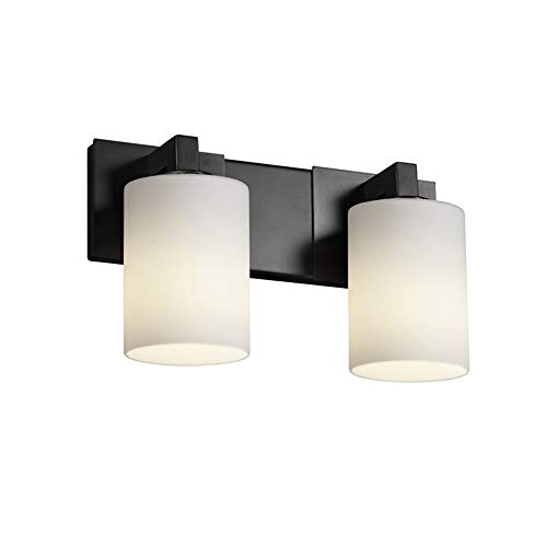 Justice Design Group Fusion 2-Light Bath Bar - Matte Black Finish with Opal Artisan Glass Shade