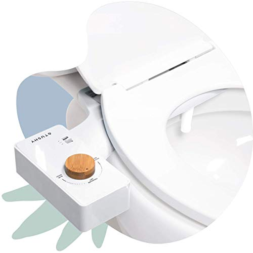 TUSHY Classic Bidet Toilet Seat Attachment – Modern Sleek Design – Fresh Clean Water Sprayer – Non-Electric Self Cleaning Adjustable Nozzle (White/Bamboo Knob)