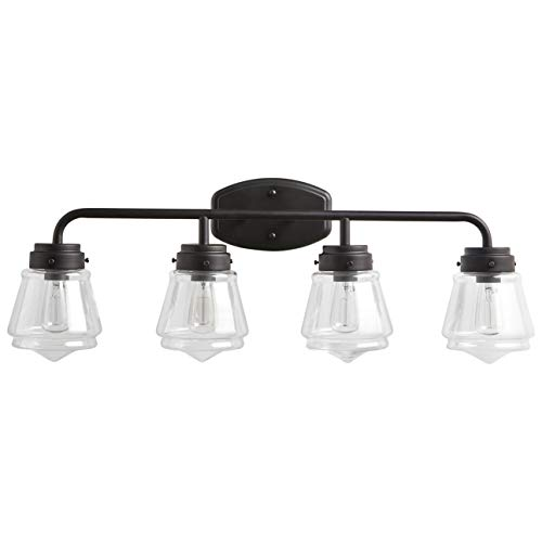 Stone & Beam Vintage Bathroom Vanity Fixture With 4 Light Bulbs And Glass Shade - 32.25 x 7 x 11.5 Inches, Matte Black