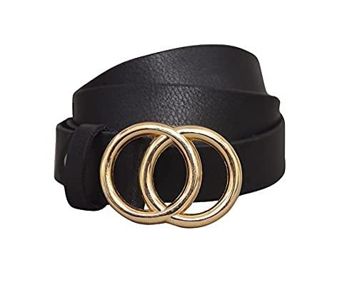 Urbanity Women's Faux Leather Belt Black Free Size Double-Ring