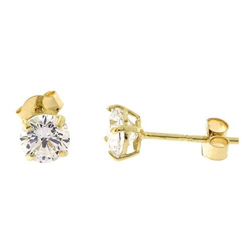 14k Yellow Gold Basket Set Cubic Zirconia Stud Earrings, 4 Millimeters ()