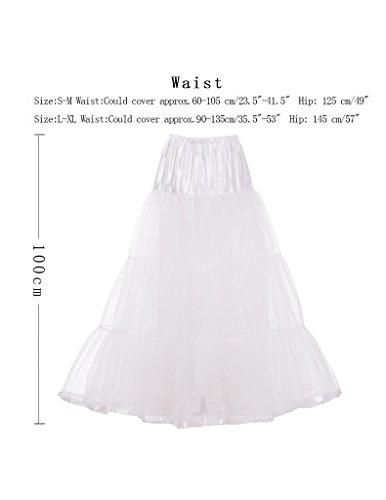 100cm Bianco Vintage 50s DaisyFormals sottogonna Crinolina Gonna Retro tutù Caviglia underskirt Lunghezza Rockabilly 7PAa7