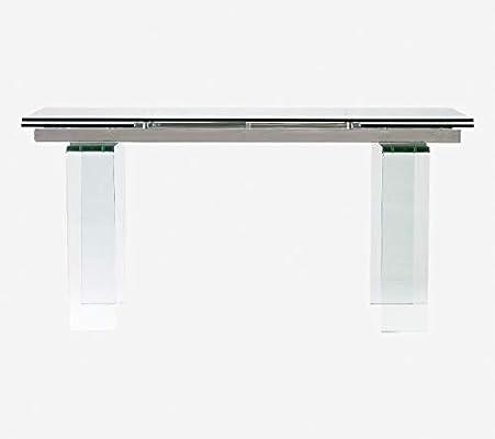 Camino a casa   Mesa Comedor Extensible 160/240cm Cristal - Estructura en Acero Inoxidable, Patas de Cristal Transparente de 18 mm, Tapa de Cristal Templado de 12 mm: Amazon.es: Hogar