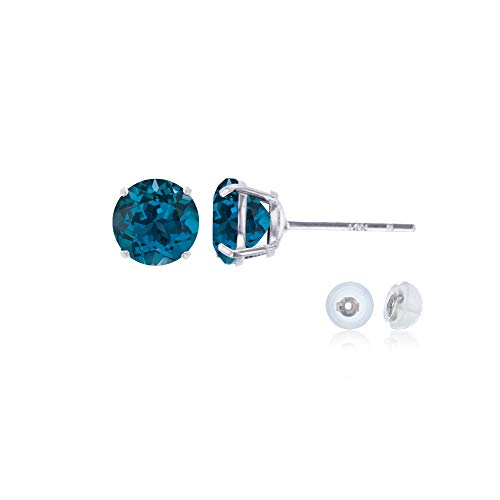 Genuine 14K Solid White Gold 4mm Round Natural London Blue Topaz December Birthstone Stud Earrings