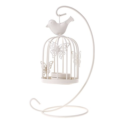 Simdoc Retro Butterfly Birdcage Candlestick Iron Candle Stand Holder Hanging Hanging for Party Home Decor Black,White