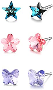 HERAYLI 3 Pairs 925 Sterling Silver 5-10mm Star Flower Butterfly Stud Earrings for Kids Girls Women,Made with