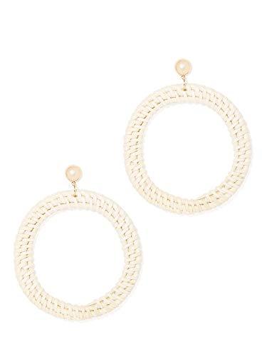 (New York & Co. Women's Goldtone Basket-Weave Hoop Drop Earring 0 Hazelnut Latte )