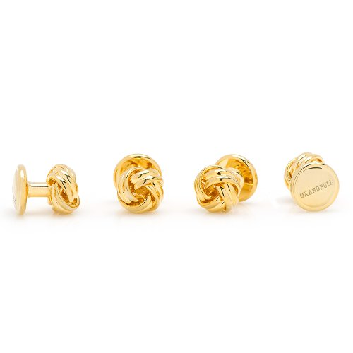 Set Of 4 Gold Plated Knot Tuxedo Studs