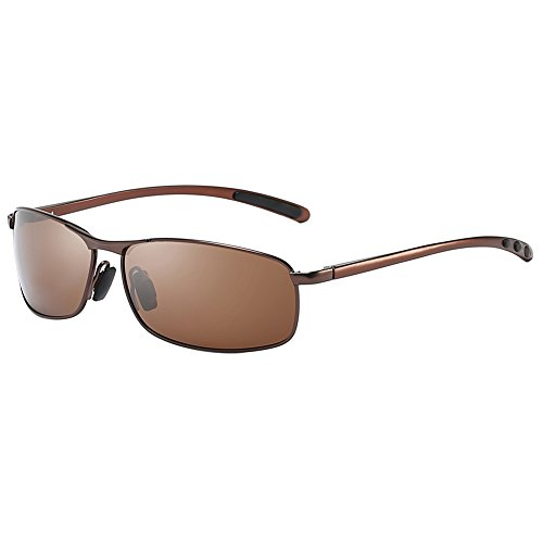 ZHILE Rectangular Polarized Sunglasses Al-Mg Alloy Temple Spring Hinge UV400 63mm (Brown, ()