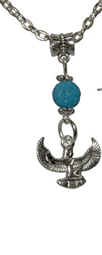 (Set, Egyptian Isis Silver Colored Charm with Turquoise Lava Pendant + FREE CHAIN+FREE GIFT BAG)