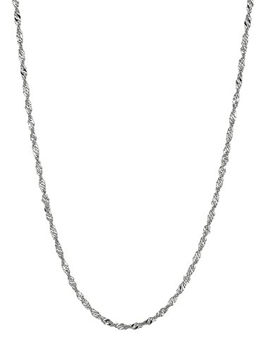 Ritastephens 14k Solid White Gold Singapore Rope Chain Necklace 1.5 Mm 20 Inches ()