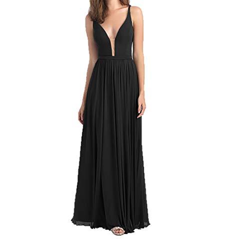 A Abendkleider Partykleider Ausschnitt V Damen Lang Schwarz Rock Durchsichtig Brautjungfernkleider Charmant Linie Elegant OxXwzqIqZ