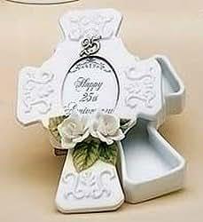"25th Wedding Anniversary Porcelain Trinket Box 2""x3"" Photo Picture Frame #60861"