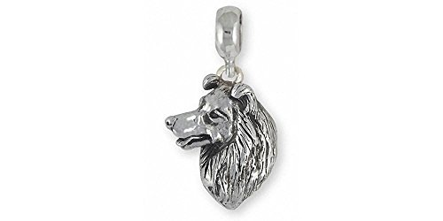 Border Collie Jewelry Sterling Silver Border Collie Charm Slide Handmade Dog Jewelry BDC6-PNS