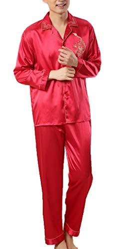 Respeedime Autumn Home Service Silk Pajamas Summer Men 's Long Sleeved Trousers Sets Sleepwear Red Size -