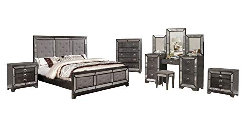 Best Quality Furniture VIC-CKV3-NC 5PC Cal King Bed with 1 Vanity Set, 1 Chest, and 2 Nightstands, Gunmetal, Gray