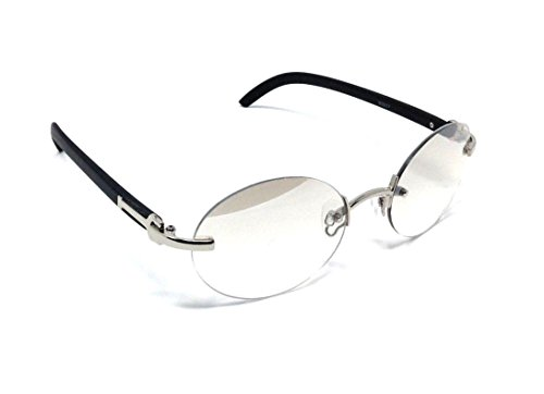 Maestro Rimless Oval Metal & Faux Wood Frame Sunglasses (Silver & Black Wood Frame, Smoke Flash - Wood Frames Glasses