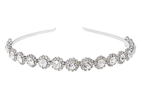 Alilang Silvery Clear Crystal Colored Rhinestone Studded Floral Metal Head Band Piece - Enamel Floral Brooch Pin