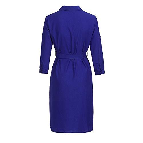 Casual Col Unie Couleur Millenniums Loose lgante Automne Bleu Courte Poche Manches Blouse V Floral Top Robe Fashion Chemisier Chic Longues Bouton Tops Chemise avec aOaX8q