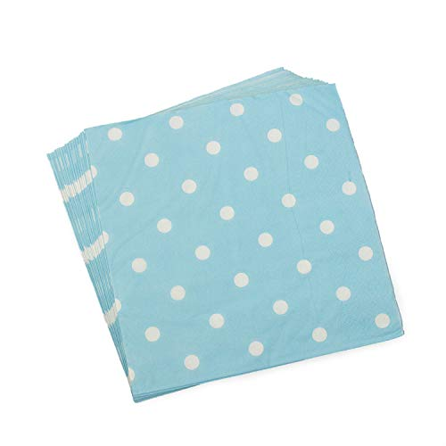 Disposable Blue Polka Dot Napkins – 100 Count Birthday Party Paper Napkins 13x13inch