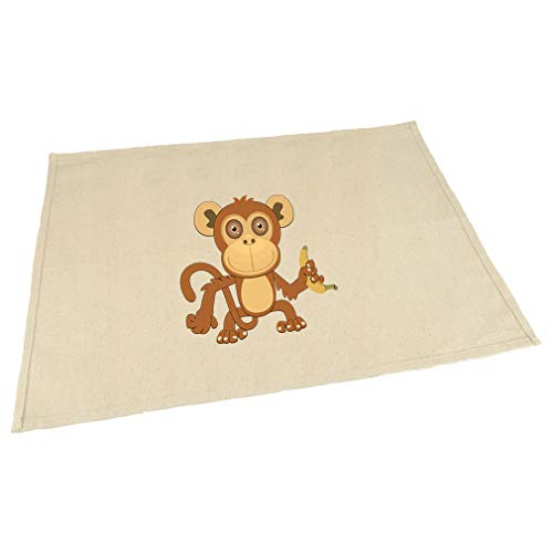 - Monkey Big Eyes Animals Cotton Canvas Placemat Table Mat Natural One Size