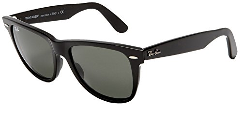 Ray-Ban Sunglasses RB2140 Original Wayfarer Unisex Sunglasses 100% Authentic (Shiny Black Frame Solid Black G15 Lens, 50)