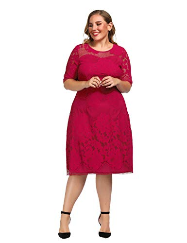 Chicwe Women's Plus Size Lined Floral Lace Dress - Knee Length Casual Party Cocktail Dress 3X Red