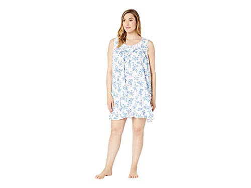 Eileen West Women's Plus Size Cotton Modal Pointelle Knit Sleeveless Short Nightgown White Ground Multi Floral 1X ()